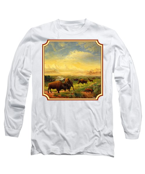 Buffalo Fox Great Plains Western Landscape Oil Painting - Bison - Americana - Square Format Long Sleeve T-Shirt