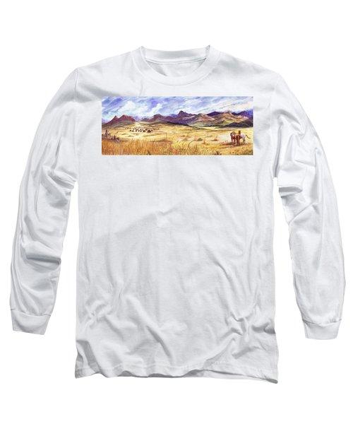 Buffalo Hunt Panorama Long Sleeve T-Shirt