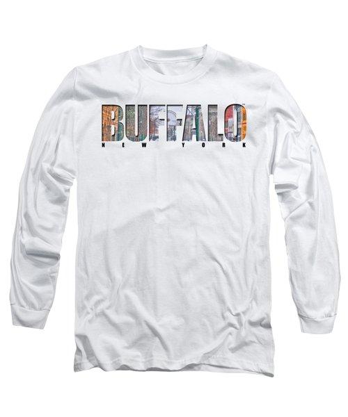 Buffalo Ny Snowy Downtown Long Sleeve T-Shirt by Michael Frank Jr