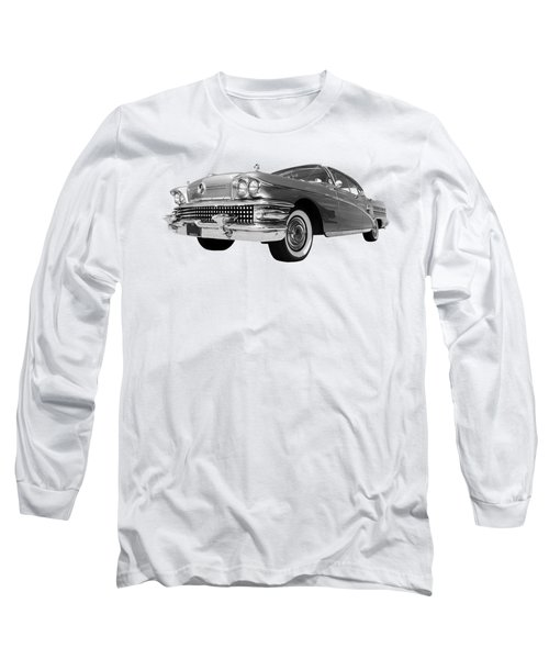 Buick Roadmaster 75 In Black And White Long Sleeve T-Shirt