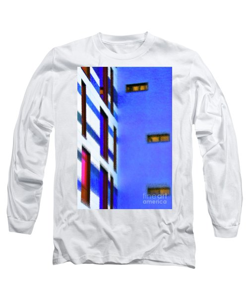 Long Sleeve T-Shirt featuring the digital art Building Block - Blue by Wendy Wilton