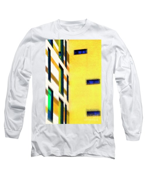 Long Sleeve T-Shirt featuring the digital art Building Block - Yellow by Wendy Wilton