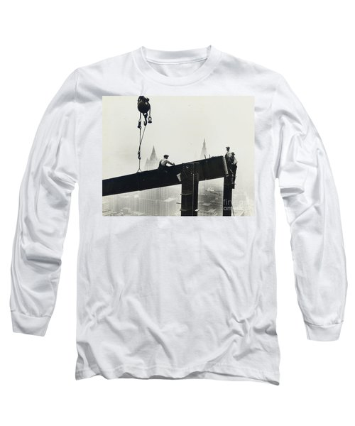 Building The Empire State Building Long Sleeve T-Shirt by LW Hine