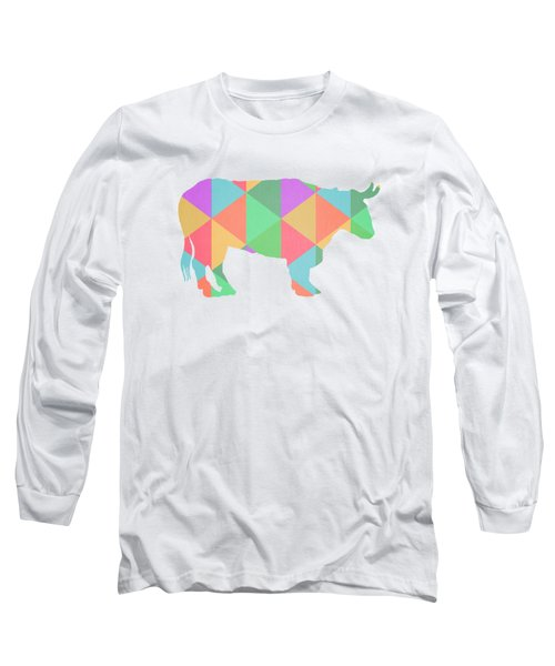 Bull Cow Triangles Long Sleeve T-Shirt by Edward Fielding