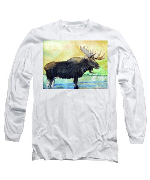 Bull Moose In Mid Stream Long Sleeve T-Shirt by Sherril Porter