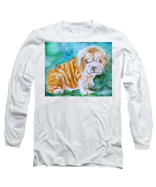 Long Sleeve T-Shirt featuring the painting Bulldog Cub  - Watercolor Portrait by Fabrizio Cassetta