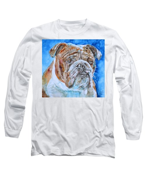 Long Sleeve T-Shirt featuring the painting Bulldog - Watercolor Portrait.8 by Fabrizio Cassetta