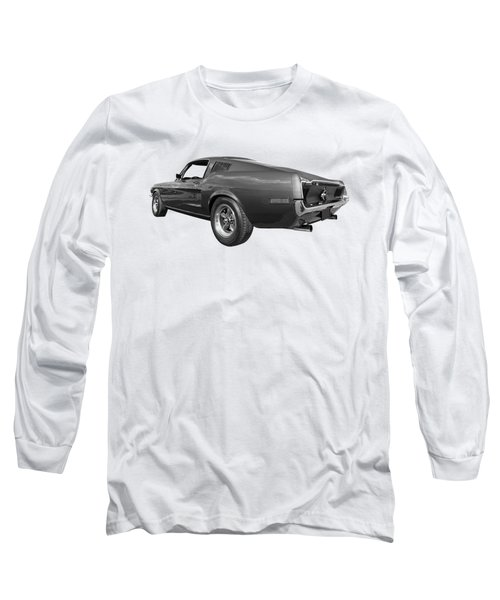 Long Sleeve T-Shirt featuring the photograph Bullitt Mustang 1968 In Black And White by Gill Billington