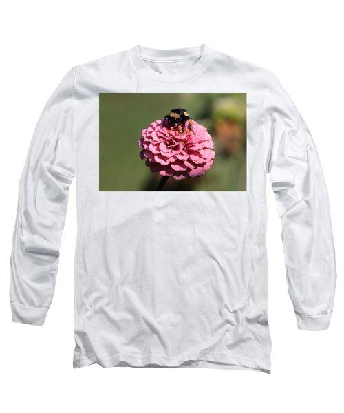 Bumble Bee On Zinnia 2649 Long Sleeve T-Shirt