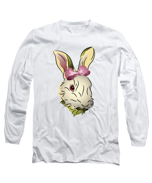 Bunny Rabbit With A Pink Bow Long Sleeve T-Shirt