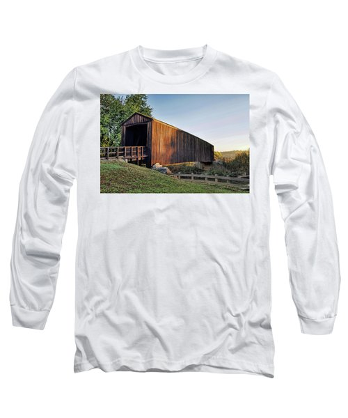 Long Sleeve T-Shirt featuring the photograph Burfordville Covered Bridge by Cricket Hackmann