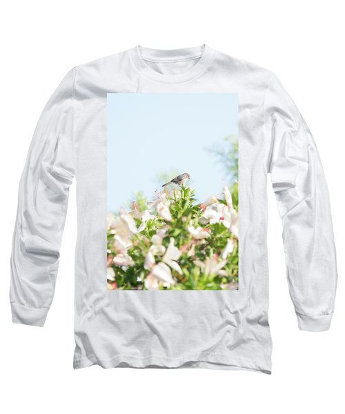 Bushtit Atop The Hibiscus Long Sleeve T-Shirt
