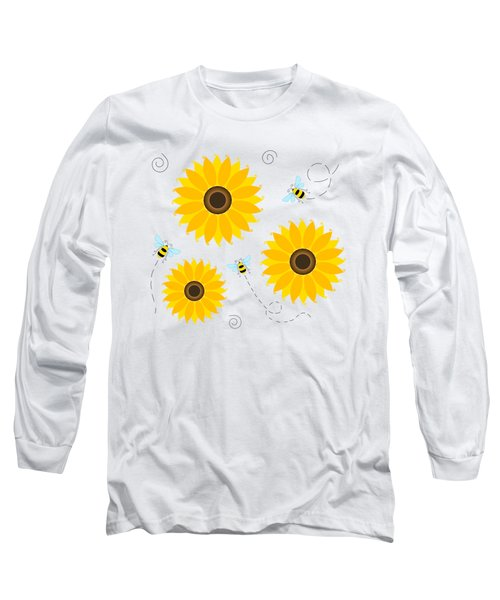 Busy Bees And Sunflowers - Large Long Sleeve T-Shirt by SharaLee Art