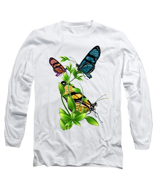 Butterflies On Leaves Long Sleeve T-Shirt by Ericamaxine Price