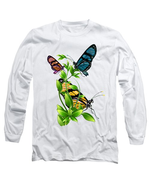Butterflies On Leaves Long Sleeve T-Shirt