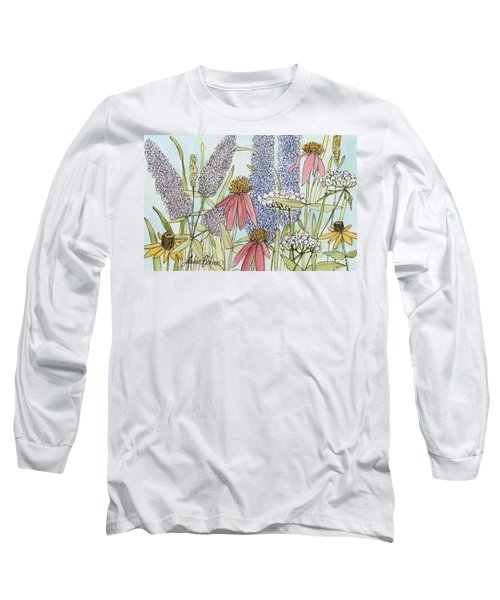 Butterfly Bush In Garden Long Sleeve T-Shirt by Laurie Rohner