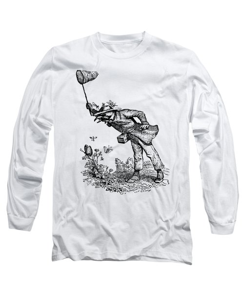 Butterfly Hunting Grandville Transparent Background Long Sleeve T-Shirt by Barbara St Jean