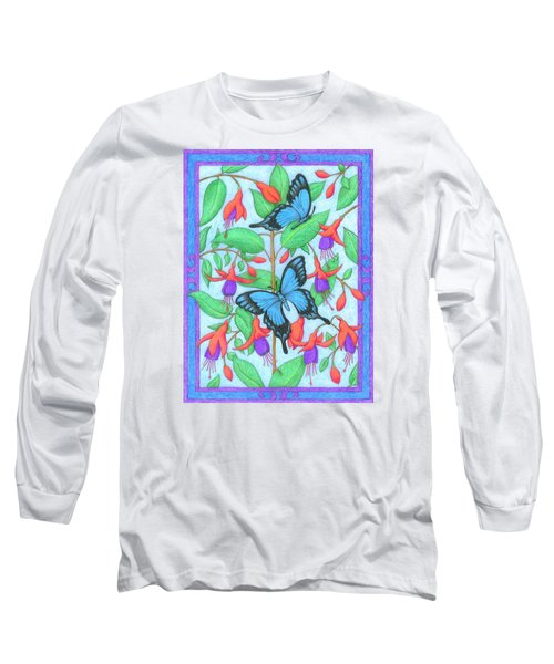 Butterfly Idyll-fuchsias Long Sleeve T-Shirt