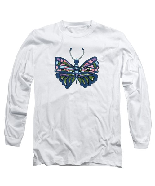 Butterfly In Blue Long Sleeve T-Shirt by Kathleen Sartoris