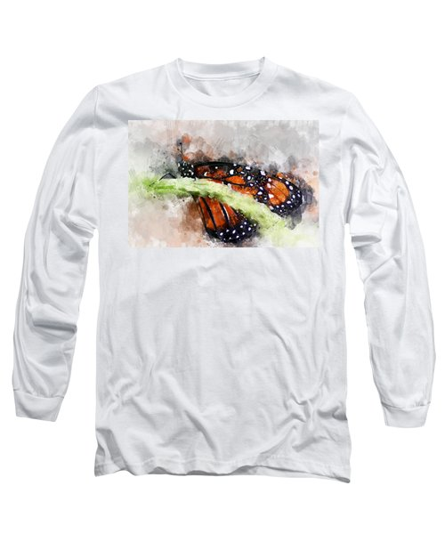 Butterfly Watercolor Long Sleeve T-Shirt