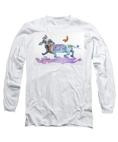 Butterfly Doxie Doo Long Sleeve T-Shirt by Marcia Baldwin