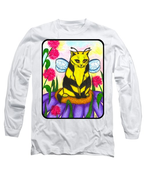 Long Sleeve T-Shirt featuring the painting Buzz Bumble Bee Fairy Cat by Carrie Hawks