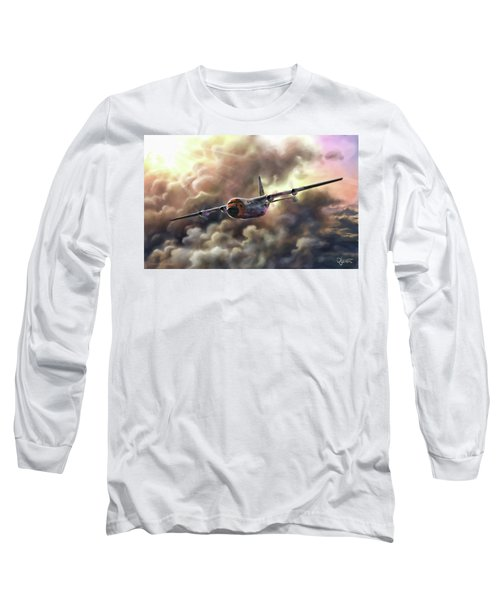 Long Sleeve T-Shirt featuring the painting C-130 Hercules by Dave Luebbert