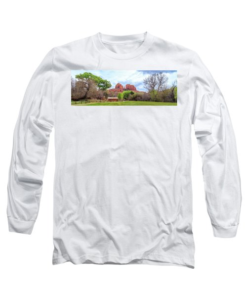 Long Sleeve T-Shirt featuring the photograph Cabin At Cathedral Rock Panorama by James Eddy