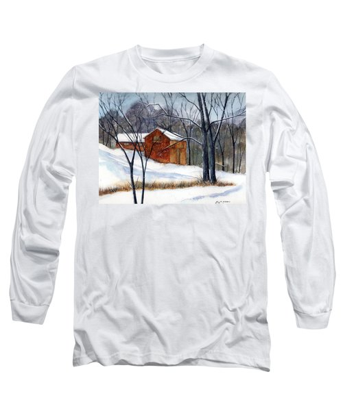 Cabin In The Woods Long Sleeve T-Shirt by Debbie Lewis