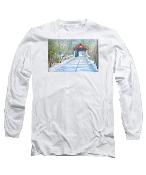 Cabin Run Bridge In Winter Long Sleeve T-Shirt by Oz Freedgood