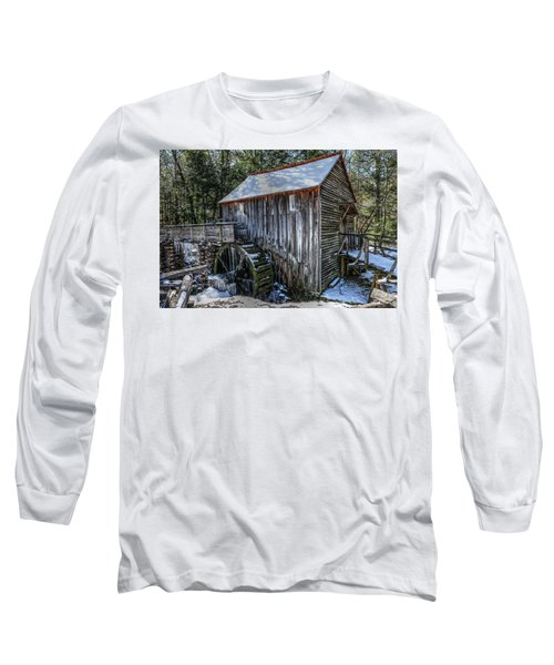 Cades Cove Grist Mill In Winter Long Sleeve T-Shirt