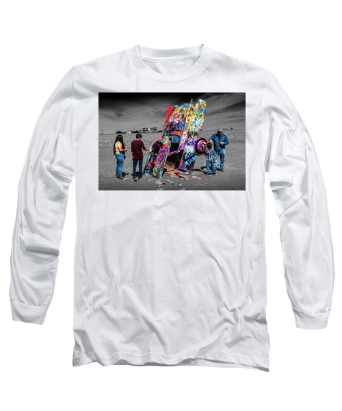Long Sleeve T-Shirt featuring the photograph Cadillac Ranch Spray Paint Fun Along Historic Route 66 By Amarillo Texas by Randall Nyhof
