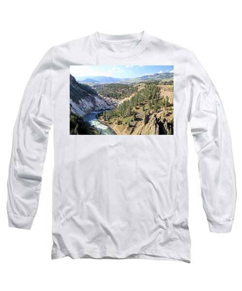 Calcite Springs Along The Bank Of The Yellowstone River Long Sleeve T-Shirt