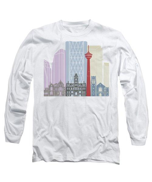 Calgary Skyline Poster Long Sleeve T-Shirt