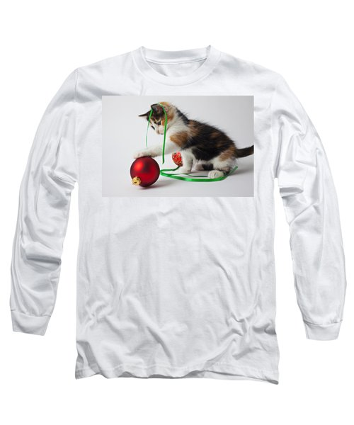 Calico Kitten And Christmas Ornaments Long Sleeve T-Shirt by Garry Gay