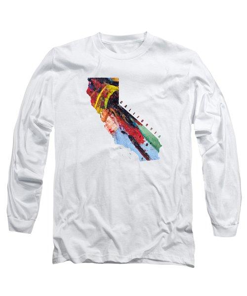 California Map Art - Painted Map Of California Long Sleeve T-Shirt