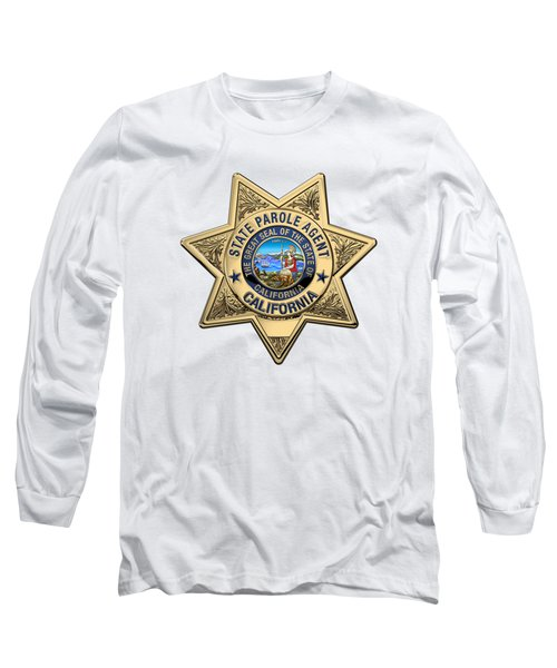 California State Parole Agent Badge Over White Leather Long Sleeve T-Shirt by Serge Averbukh