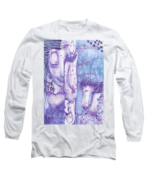 Long Sleeve T-Shirt featuring the mixed media Calling Upon Spirit Animals by Prerna Poojara
