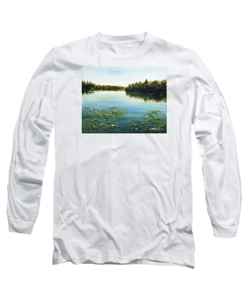 Long Sleeve T-Shirt featuring the painting Calm by Arturas Slapsys