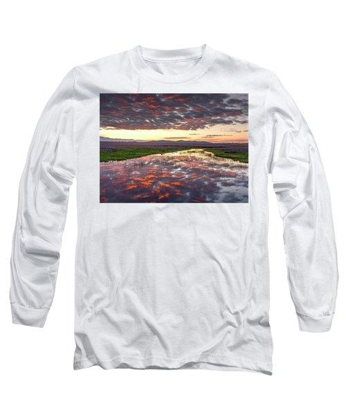 Camas Spring Sunrise Long Sleeve T-Shirt by Leland D Howard