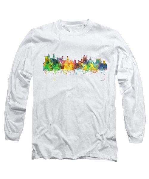 Cambridge England Skyline Long Sleeve T-Shirt by Marlene Watson