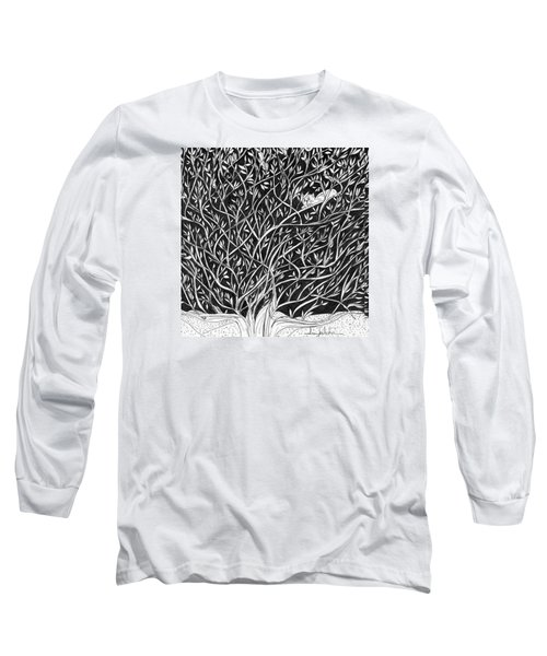 Long Sleeve T-Shirt featuring the painting Can You See Me? by Lou Belcher