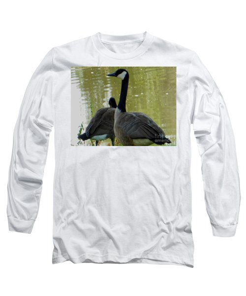 Long Sleeve T-Shirt featuring the photograph Canada Goose Edge Of Pond by Rockin Docks Deluxephotos