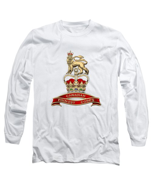 Canadian Provost Corps - C Pro C Badge Over White Leather Long Sleeve T-Shirt by Serge Averbukh