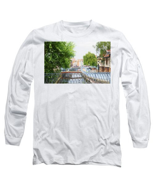Long Sleeve T-Shirt featuring the photograph Canal View In Amiens by Therese Alcorn