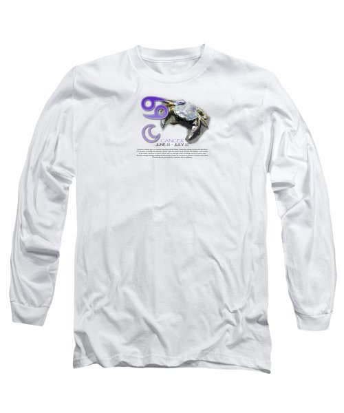 Cancer Sun Sign Long Sleeve T-Shirt by Shelley Overton