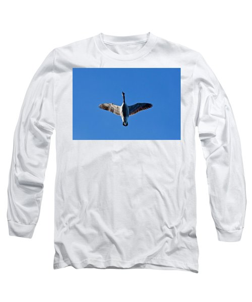 Long Sleeve T-Shirt featuring the photograph Candian Goose In Flight 1648 by Michael Peychich
