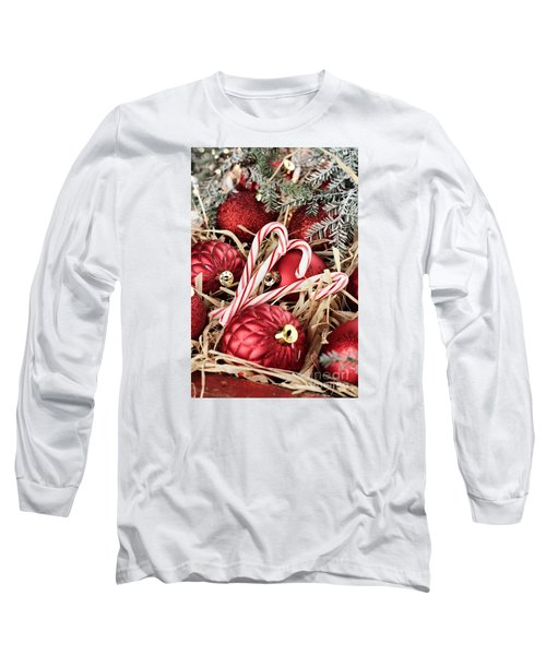 Candy Canes And Red Christmas Ornaments Long Sleeve T-Shirt