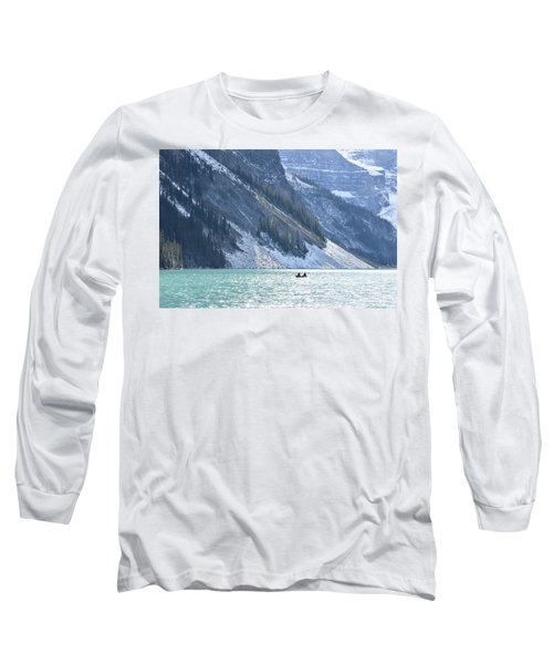 Canoeing On Lake Louise Long Sleeve T-Shirt by Keith Boone