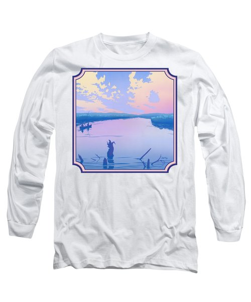 Canoeing The River Back To Camp At Sunset Landscape Abstract - Square Format Long Sleeve T-Shirt